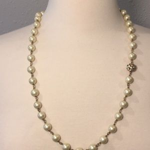 Stella & Dot Pearl Necklace with Rhinestone